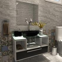 Gabinete para Banheiro com Cuba e Espelho 1 Gaveta - VTec Aquarius