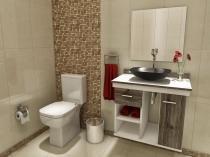 Gabinete para Banheiro com Cuba e Espelho 1 Porta - 1 Gaveta - VTec Pegasus