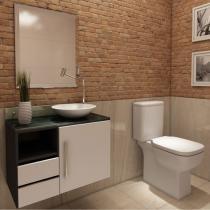 Gabinete para Banheiro com Cuba e Espelho 1 Porta 2 Gavetas VTec Sol