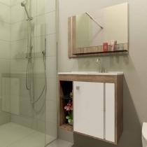 Gabinete para Banheiro com Cuba e Espelho - 1 Porta - Móveis Bechara Veneza II