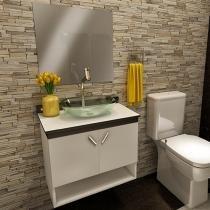 Gabinete para Banheiro com Cuba e Espelho 2 Portas - VTec Aquila