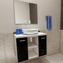 Gabinete para Banheiro com Cuba e Espelho 2 Portas - Vtec Gacrux