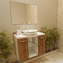 Gabinete para Banheiro com Cuba e Espelho 2 Portas - VTec Terra
