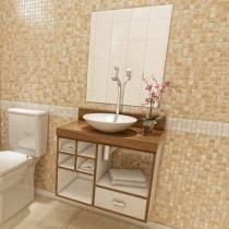 Gabinete para Banheiro com Cuba e Espelho 3 Peças - 1 Gaveta - VTec Becrux