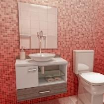 Gabinete para Banheiro com Cuba e Espelho 3 Peças - 2 Portas - VTec Nekkar