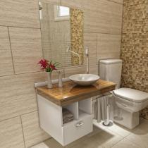 Gabinete para Banheiro com Cuba e Espelho 3 Peças - Simples 1 Gaveta - VTec Adhara Escuro