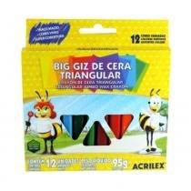 Giz de Cera Big Triangular 12 Cores 95g Acrilex - Acrilex