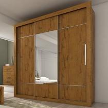 Guarda-roupa Casal 3 Portas de Correr 3 Gavetas - Lopas Vicenza com Espelho