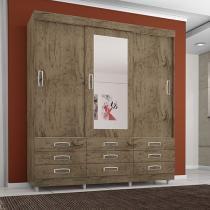 Guarda-roupa Casal 3 Portas de Correr 9 Gavetas - Araplac 4900-88 com Espelho