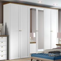 Guarda-Roupa Casal 6 Portas 5 Gavetas - Madesa Classic com Espelho