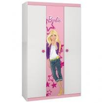 Guarda-Roupa Infantil 3 Portas 1 Gaveta - Pura Magia Barbie Happy