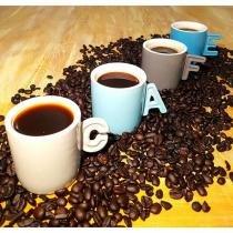 Jogo de 4 Xícaras para Café Letters com Suporte - Bon Gourmet