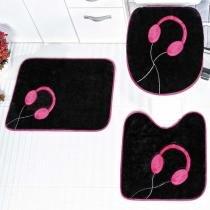 Jogo de Banheiro Fone 3 Peças Pink - Rosa - Guga Tapetes