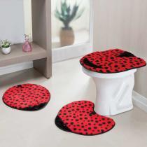 Jogo de Banheiro Formato Joaninha 3 Peças Vermelho - Rosa - Guga Tapetes