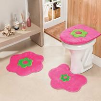 Jogo de Banheiro Formato Margarida 3 Peças Pink - Rosa - Guga Tapetes