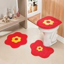 Jogo de Banheiro Formato Margarida 3 Peças Vermelho - Rosa - Guga Tapetes