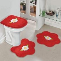 Jogo de Banheiro Formato Margarida Folha Vermelho - Colorido - Guga Tapetes