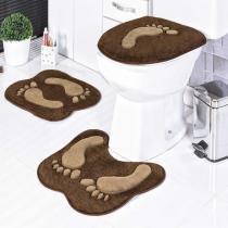 Jogo de Banheiro Formato Pegada 3 Peças Café - Rosa - Guga Tapetes