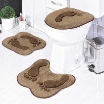 Jogo de Banheiro Formato Pegada 3 Peças Castor - Rosa - Guga Tapetes