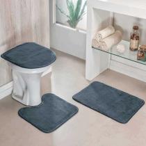 Jogo de Banheiro Liso 3 Peças Cinza - Colorido - Guga Tapetes