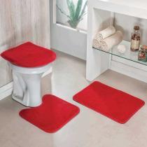 Jogo de Banheiro Liso 3 Peças Vermelho - Colorido - Guga Tapetes