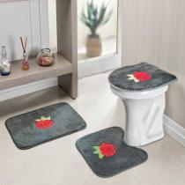 Jogo de Banheiro Rosas 3 Peças Cinza - Rosa - Guga Tapetes