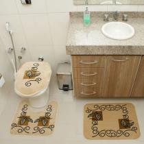 Jogo de Banheiro Royal Luxury RLN 102 4 Creme - Creme - Rayza Tapetes