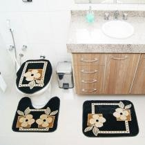 Jogo de Banheiro Royal Luxury RLN 103 1 Preto - Preto - Rayza Tapetes