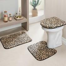 Jogo de Banheiro Safari 3 Peças Leopardo - Rosa - Guga Tapetes