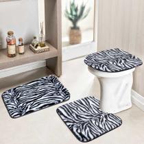 Jogo de Banheiro Safari 3 Peças Zebra - Rosa - Guga Tapetes