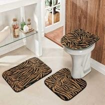 Jogo de Banheiro Safari Standard 3 Peças Tigre - Colorido - Guga Tapetes