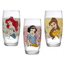 Jogo de Copos Vidro 3 Peças Colorido - 430ml Nadir Disney Princesas