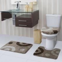 Jogo de Tapete para Banheiro Fina Arte Metades - 3 Peças - Jolitex