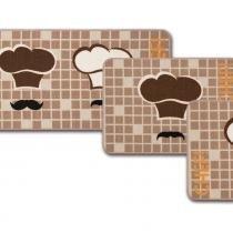 Jogo de Tapetes de Cozinha Gourmet Chef 3 Peças - Jolitex - Bege - Jolitex