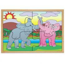 Jogo Quebra-Cabeça Casal Elefantes com 4 Peças + 1 Base 1280 - Carlu - Carlu