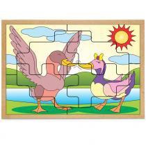 Jogo Quebra-Cabeça Casal Patos com 8 Peças + 1 Base 1288 - Carlu - Carlu
