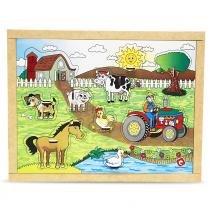 Jogo Quebra-Cabeça com Pinos Fazenda em MDF 1653 - Carlu - Carlu