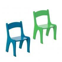 Kit 2 Cadeiras Infantis em MDF - Pintura em Laca Azul/Verde - Ativa