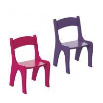 Kit 2 Cadeiras Infantis em MDF - Pintura em Laca Rosa/Roxo - Ativa