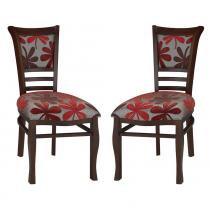 Kit 2 Cadeiras Itália em Madeira e Laminado de Jequitibá com Assento Estofado - Capuccino - Seiva