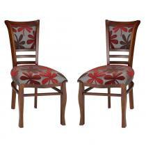 Kit 2 Cadeiras Itália em Madeira e Laminado de Jequitibá com Assento Estofado - Castanho - Seiva