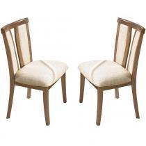 Kit 2 Cadeiras p/ Sala de Jantar Berlim c/ Madeira Maciça Eucalipto Lâmina de Carvalho - Champagne - Seiva