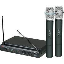 Kit 2 Microfones de Mão sem Fio Pilha 2AA Bivolt KRU302 Preto - Karsect - Karsect