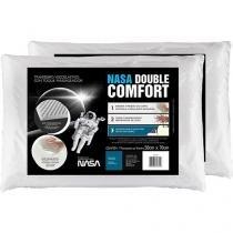Kit 2 Travesseiro com Espuma Viscoelástica - Fibrasca NASA Double Comfort