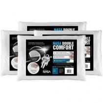 Kit 4 Travesseiros com Espuma Viscoelástica - Fibrasca NASA Double Comfort
