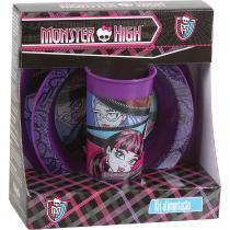 Kit Alimentação Monster High Mattel Baby Go Prato Flat Prato Bowl e Copo 340ml 1676 - Baby Go