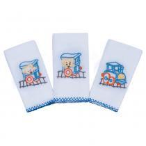 Kit Babetes Karinho Bordado Urso Trenzinho Azul 3 un - Papi - Papi
