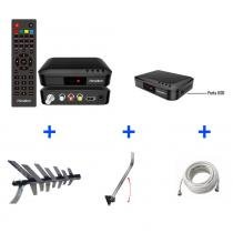 Kit Conversor Digital + Antena + Suporte + Cabo 10 metros - KIT-PLENO-8000 - Prime Tech