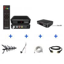 Kit Conversor Digital + Antena + Suporte + Cabo 10m + Cabo HDMI 2m - KIT-SÊNIOR-8000 - Prime Tech