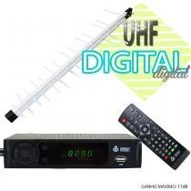 Kit Conversor Digital Infokit 1080p ITV-200 + Antena Capte banda total custom log 14/28e 18dBi Branca - Infokit - Next